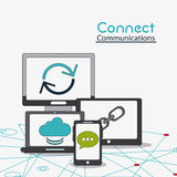 Connect communications social network icon. Computer laptop smartphone bubble cloud connect communications social network icon. colorful illustration Stock Image
