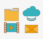 Connect communications social network icon. File movie envelope cloud connect communications social network icon. colorful illustration Stock Images