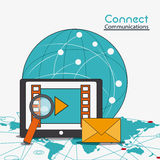 Connect communications social network icon. Global envelope lupe movie tablet connect communications social network icon. colorful illustration Stock Photography