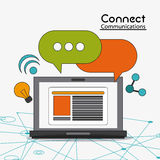 Connect communications social network icon. Laptop bubble share bulb connect communications social network icon. colorful illustration Royalty Free Stock Photo