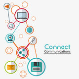 Connect communications social network icon. Laptop envelope diskette global share, connect communications social network icon. colorful illustration Royalty Free Stock Photos