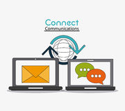 Connect communications social network icon. Laptop global envelope bubble connect communications social network icon. colorful illustration Stock Image