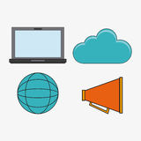 Connect communications social network icon. Laptop global megaphone cloud connect communications social network icon. colorful illustration Royalty Free Stock Photography