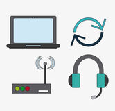 Connect communications social network icon. Laptop headphone wifi connect communications social network icon. colorful illustration Royalty Free Stock Images