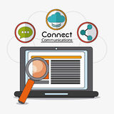 Connect communications social network icon. Laptop lupe connect communications social network icon. colorful illustration Stock Images