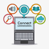 Connect communications social network icon. Laptop connect communications social network icon set. colorful illustration Royalty Free Stock Photos