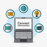 Connect communications social network icon. Laptop connect communications social network icon set. colorful illustration Stock Image
