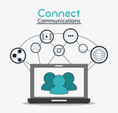 Connect communications social network icon. Laptop connect communications social network icon set. colorful illustration Stock Photos