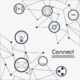 Connect communications social network icon. Movie envelope share bubble camera connect communications social network icon set. black and white illustration Stock Images