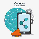 Connect communications social network icon. Smartphone global megaphone share gears connect communications social network icon. colorful illustration Stock Photo