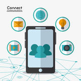 Connect communications social network icon. Smartphone connect communications social network icon set. colorful illustration Stock Image