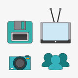 Connect communications social network icon. Tv camera diskette connect communicaitons social network icon. colorful illustration Royalty Free Stock Images