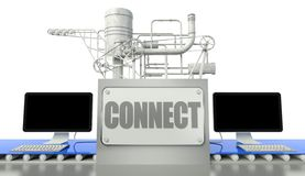 Connect concept with computers and machine Stock Photo