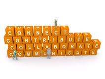 Connect, contribute, collaborate, communicate. In white lettering on orange blocks with illustrations of people Stock Photo