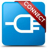 Connect cyan blue square button red ribbon in corner. Connect  on cyan blue square button with red ribbon in corner abstract illustration Stock Photo