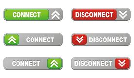 Connect disconnect button sets Royalty Free Stock Photography