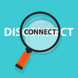 Connect disconnect concept technology internet business analysis magnifying glass symbol Royalty Free Stock Images