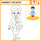 Connect the dots. Cartoon vector Illustration.Woman pharmacist in a pharmacy on the isolated background. Health care. Isolated.Black Royalty Free Stock Image