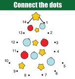 Connect the dots by numbers children educational game. Printable worksheet activity. New Year, Christmas holidays theme. Connect the dots children educational Royalty Free Stock Photo