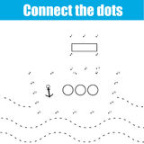 Connect the dots children educational game. Connect the dots children educational drawing game . Dot to dot by numbers game for kids. Transport theme for pre Stock Illustration