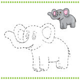 Connect the dots and coloring page. Elephant vector illustration