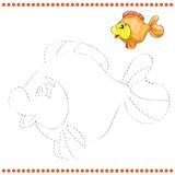 Connect the dots and coloring page. With funny fish Royalty Free Stock Images