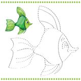Connect the dots and coloring page. With funny fish Royalty Free Stock Photography