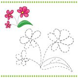 Connect the dots and coloring page. With grass and flowers Vector Illustration
