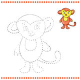 Connect the dots and coloring page. Monkey Royalty Free Stock Image