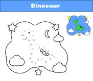 Connect the dots. Dino print cards for educational game. Coloring book Cartoon character dinosaur. Cute diplodocus royalty free illustration
