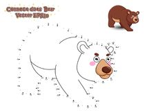 Connect The Dots and Draw Cute Cartoon Bear. Educational Game for Kids. Vector Illustration. royalty free illustration