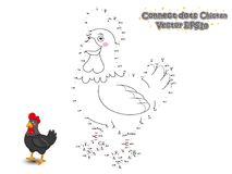 Connect The Dots and Draw Cute Cartoon Chicken. Educational Game. For Kids. Vector Illustration vector illustration