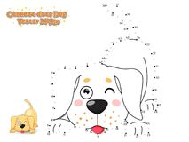 Connect The Dots and Draw Cute Cartoon Dog Puppy Labrador. Educational Game for Kids. Vector Illustration. royalty free illustration