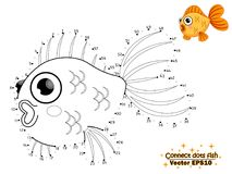 Connect the dots draw the cute cartoon fish and color. education. Al game for kids. Vector illustration. children and educational Royalty Free Stock Photography