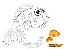 Connect the dots draw the cute cartoon fish and color. education stock illustration