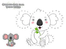Connect The Dots and Draw Cute Cartoon Koala. Educational Game f. Or Kids. Vector Illustration royalty free illustration