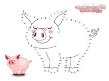Connect The Dots Draw Cute Cartoon Pig and Color. Educational Ga royalty free illustration