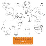 Connect the dots (farm animals set, cow family). Game for children: Connect the dots (farm animals set, cow family Vector Illustration