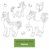 Connect the dots (farm animals set, horse family). Game for children: Connect the dots (farm animals set, horse family Vector Illustration