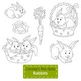 Connect the dots (farm animals set, rabbits family). Game for children: Connect the dots (farm animals set, rabbits family Royalty Free Stock Photo