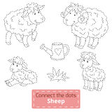 Connect the dots (farm animals set, sheep family). Game for children: Connect the dots (farm animals set, sheep family Vector Illustration