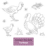 Connect the dots (farm animals set, turkey family) Royalty Free Stock Photography