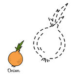 Connect the dots: fruits and vegetables (onion) Stock Photo