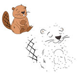 Connect the dots game beaver vector illustration Stock Image