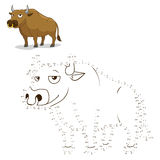 Connect the dots game bull vector illustration. Connect the dots to draw game bull vector illustration Royalty Free Stock Image