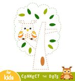 Connect the dots, game for children. The owl in the tree. Connect the dots, education game for children. The owl in the tree stock illustration