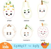 Connect the dots, game for children. Set of cartoon fruits. Connect the dots, education game for children. Set of cartoon fruits and nuts - Coconut, Dragon fruit vector illustration