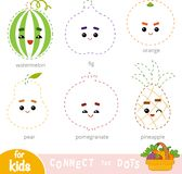 Connect the dots, game for children. Set of cartoon fruits. Connect the dots, education game for children. Set of cartoon fruits - Orange, Pear, Pineapple royalty free illustration