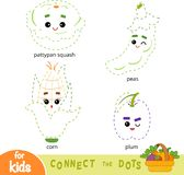 Connect the dots, game for children. Set of cartoon fruits and vegetables. Connect the dots, education game for children. Set of cartoon fruits and vegetables vector illustration