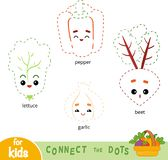 Connect the dots, game for children. Set of cartoon vegetables. Connect the dots, education game for children. Set of cartoon vegetables - pepper, beet, garlic vector illustration